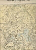 1892 Antique Map YELLOWSTONE PARK, WYOMING