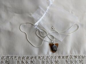 """Brown Sea Glass with """"Do Good"""" Charm Necklace Pendant"""