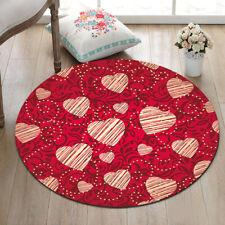 Valentines Vintage Style Hearts Shape Area Rugs Living Room Round Floor Mat Rug
