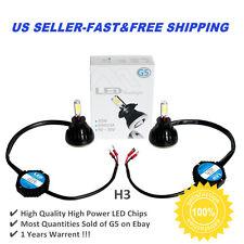 2PC HID 6000k White 80W H3 High Power LED Headlight Bulbs Light Conversion Kit