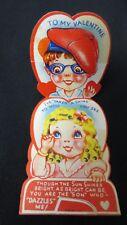Vintage Shirley Temple type Girl & Boy Valentine Card c. 1940s