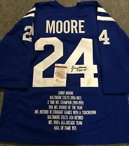 LENNY MOORE AUTOGRAPHED SIGNED INSC BALTIMORE COLTS TB STAT JERSEY JSA COA