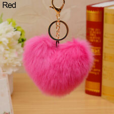 EG_ 10CM FAUX FUR BALL POMPOM HEART SHAPE CAR PHONE KEYCHAIN HANDBAG KEY RING CO