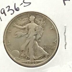 1936-S Walking Liberty Silver Half Dollar   E9018