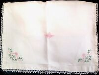 VINTAGE HAND EMBROIDERED LINEN & LACE MONOGRAM R NIGHTDRESS CASE CUSHION COVER