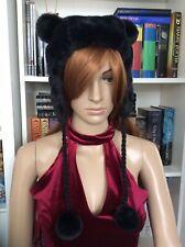 Black Faux Fur Soft Pom Pom Cat/Bear Ear Cute Hat