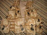 British Army Issue, Desert DPM, Tactical Load Carrying Vests, and Molle Pouches