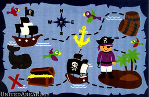 3x5  Rug Ahoy Matey Pirate Treasure Island Ocean Kids Play Time Non Skid Backing