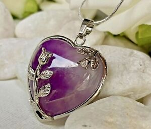 Real Amethyst Stone Heart & Roses Pendant on Long Snake Silver Chain necklace