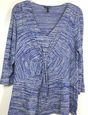 Daisy Fuentes Woman Knit Top Size 1X V Neck 3/4 Sleeves Blue Rayon Blend