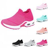 Sock Sneakers Creepers Women Low Heel Running Walking Athletic Shoes Trainers B