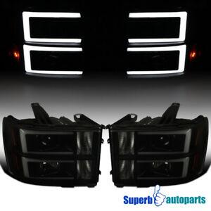 For 2007-2014 GMC Sierra 1500 3500HD Projector Headlights LED Strip Black Smoke
