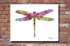 "Dragonfly Abstract Watercolor Painting 11"" x 14"" Art Print by Artist DJ Rogers"