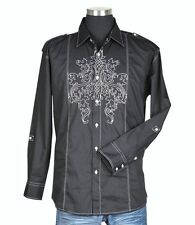 Men's Cotton Casual Embroidery Retro Western Shirt #33 - Black & White