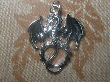 USA SHINY HIGH POLISHED SILVER TONE GOTHIC DRAGON PENDANT CHARM NECKLACE