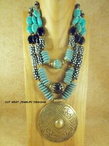 Statement Necklace - Chunky Teal African Glass & Black Agate Western -Tribal