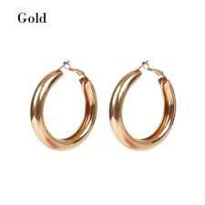 Punk Rock Minimalist 50mm Thick Tube Big Gold Alloy Round Circle Hoop Earrings