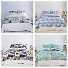 3 Pcs Luxury Reversible Quilted Bedspread Comforter Throws Pillowcase All Sizes