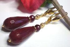 Lange Edelstein Ohrringe Red Stone facettiert Rubin Rot 925 Silber vergoldet