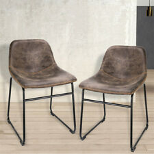 2 Brown Kitchen Dining Chair Faux Leather Upholstered Seat Restaurant Back Stool