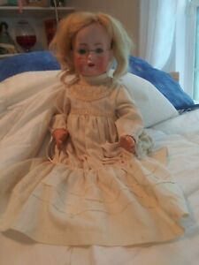 Antique Bruno Schmidt 18 Bisque Head Doll Composite Body Sleepy Eyes