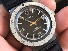 Vintage 1981 Timex Skindiver Date Mechanic Men's Watch Serviced New Strap