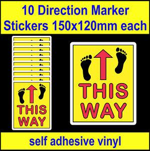 f 10 Social Distancing This Way Direction Arrow Stickers 150mm vinyl floor decal