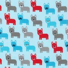 Fabric Dogs Bulldogs Medium on Blue Flannel 1 Yard S