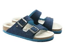 NIB Birkenstock Arizona Wool Doubleface Blue Footbed Sandal Women's US Size 5