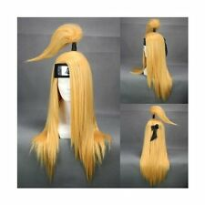 Naruto Akatsuki Deidara Anime Perücke wig Cosplay Kostüm Lang Blond Gelb Damen