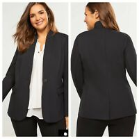 Lane Bryant Black Ponte Blazer With Stand Up Collar Women Size 26 Lined Button