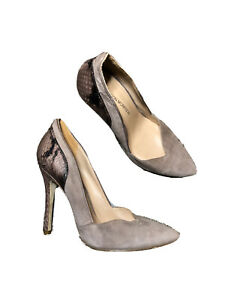 Sigerson Morrison Mauve Taupe Suede Pointed Toe Snake Embossed Pumps Size 8
