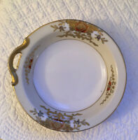 Noritake Hand Painted Gold Floral One Handle Rimmed Dish Bowl