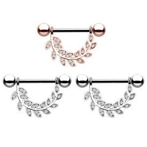 Crystal Leaf Ball Tongue Nipple Barbell Rings Bars Body Jewelry Piercing 14GS`hw