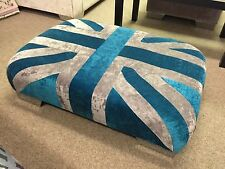 Small Union Jack Footstool Pouffe Living Room Chrome Feet British Made Furniture