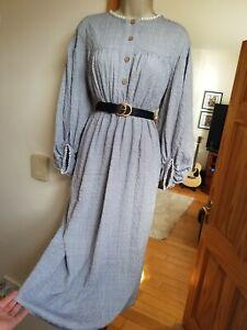 New Stunning Size M 10-12 Cottagecore Vtg Midi Broderie Tea Dress Gd Actuel