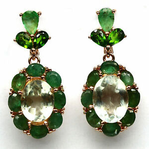 NATURAL GREEN AMETHYST, EMERALD & DIOPSIDE EARRINGS 925 STERLING SILVER