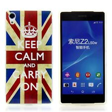 Sony Xperia Z2 Case Silikon Handy Schutz Hülle Etui Cover Keep Calm and Carry On