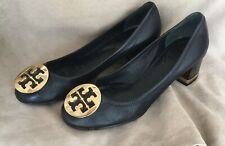 TORY BURCH Signature MEDALLION Stacked Heel SHOES 8.5