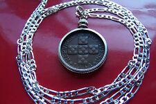 """Portuguese Escutcheon Cross Coin Pendant on a 30"""" 925 Sterling Silver Chain"""