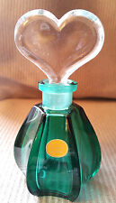 West GERMANY Crystal Perfume Bottle Deep Green Glass Vial Clear Heart Lead