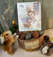 SUPER SWEET VINTAGE EASTER BUNNY WITH BASKET OF EGGS AND CHICKS CANVAS 8 X 10