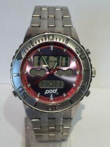 Mens New Pod Premium Analogue & Digital Rotating Bezel Sports Watch 100m W/Proof