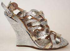 DRIES VAN NOTEN Silver & Gold Metallic Leather Wedge Sandals Heels 40 9.5 $1165