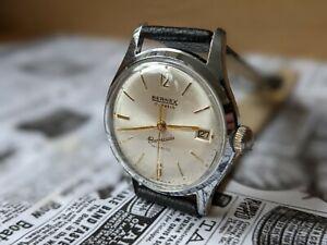 Gents Vintage Bernex Champagne  Date Function Sunburst Dial Watch - Working