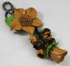 Handcraft Brown Genuine Leather Keyring Flower Keychain Purse Women Charm Bag