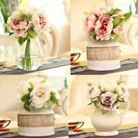 5 Heads Bridal Peony Flower 1 Bouquet Home Wedding Decor Silk Flowers