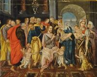 Fine 16th Century Flemish Old Master Christ Blessing The Children Oil Painting