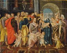 Fine 16th siècle flamand Old Master Christ bénissant les enfants peinture à l'huile