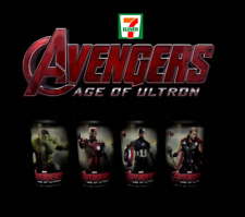 7-11 Avengers Age of Ultron: IRON MAN CAPT. AMERICA HULK THOR  Movie Tumbler Set